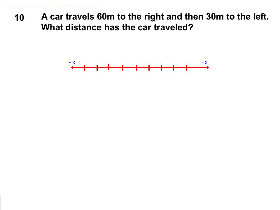 10 A car travels 60m to the right and then 30m to the left. What distance has the car traveled? +x- x
