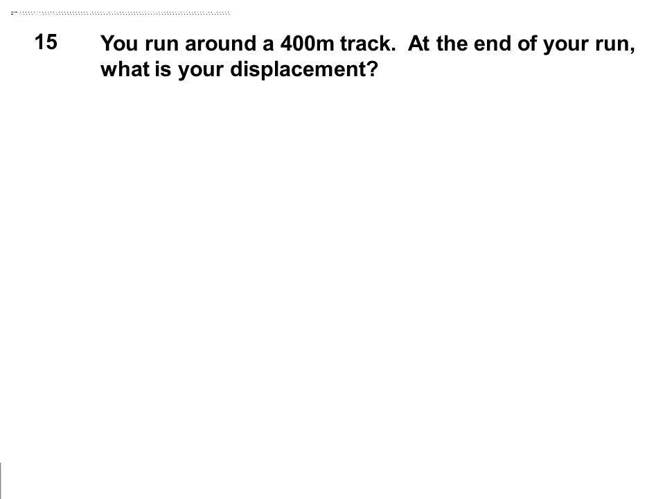 15 You run around a 400m track. At the end of your run, what is your displacement?