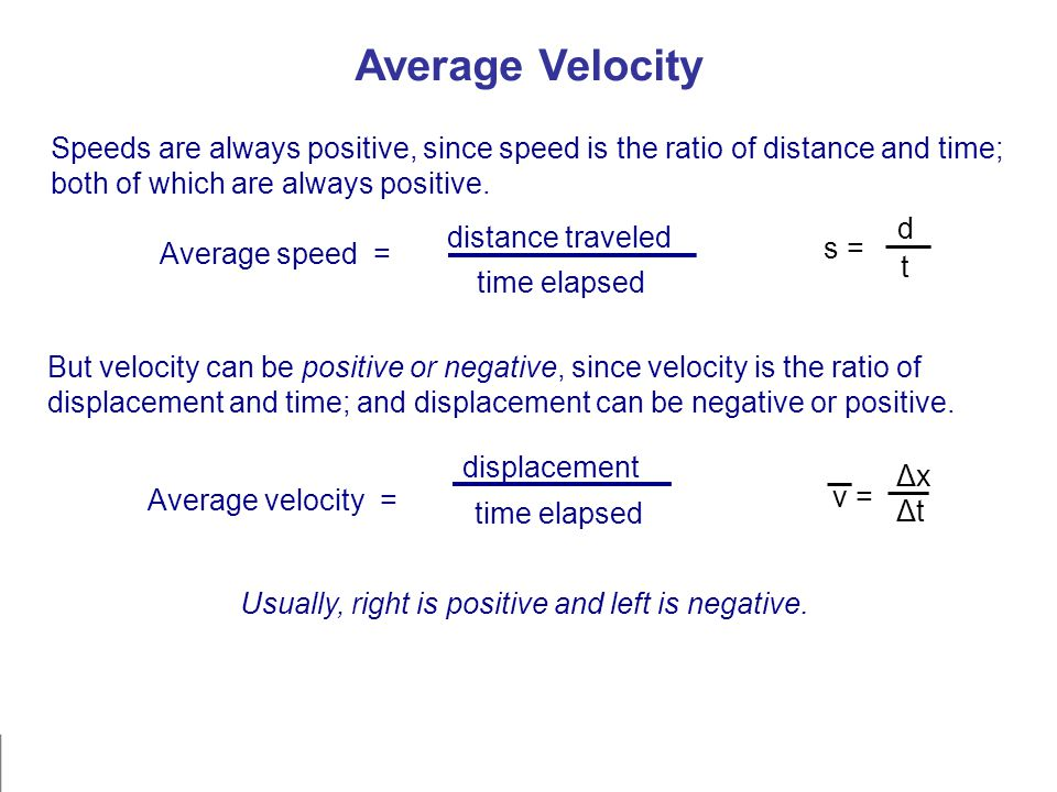 Average Velocity Speeds are always positive, since speed is the ratio of distance and time; both of which are always positive. But velocity can be pos