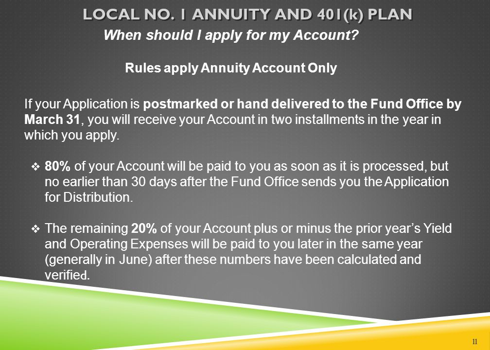 When should I apply for my Account? Rules apply Annuity Account Only If your Application is postmarked or hand delivered to the Fund Office by March 3