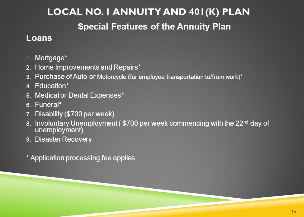 LOCAL NO. 1 ANNUITY AND 401(K) PLAN Special Features of the Annuity Plan Loans 1. Mortgage* 2. Home Improvements and Repairs* 3. Purchase of Auto or M