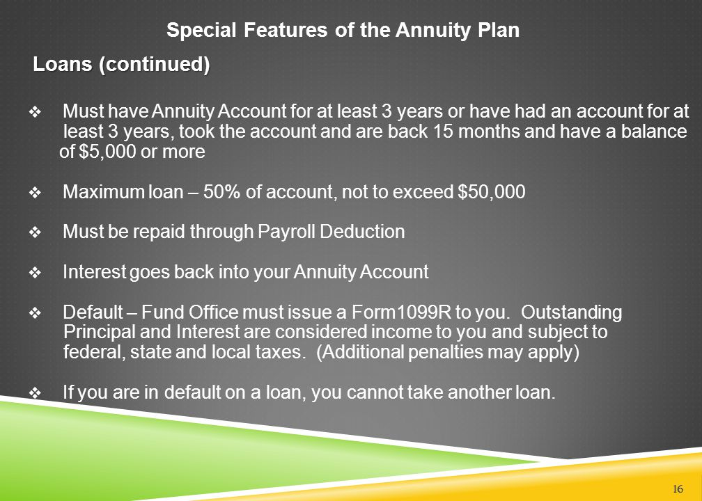 Special Features of the Annuity Plan Loans (continued)  Must have Annuity Account for at least 3 years or have had an account for at least 3 years, t