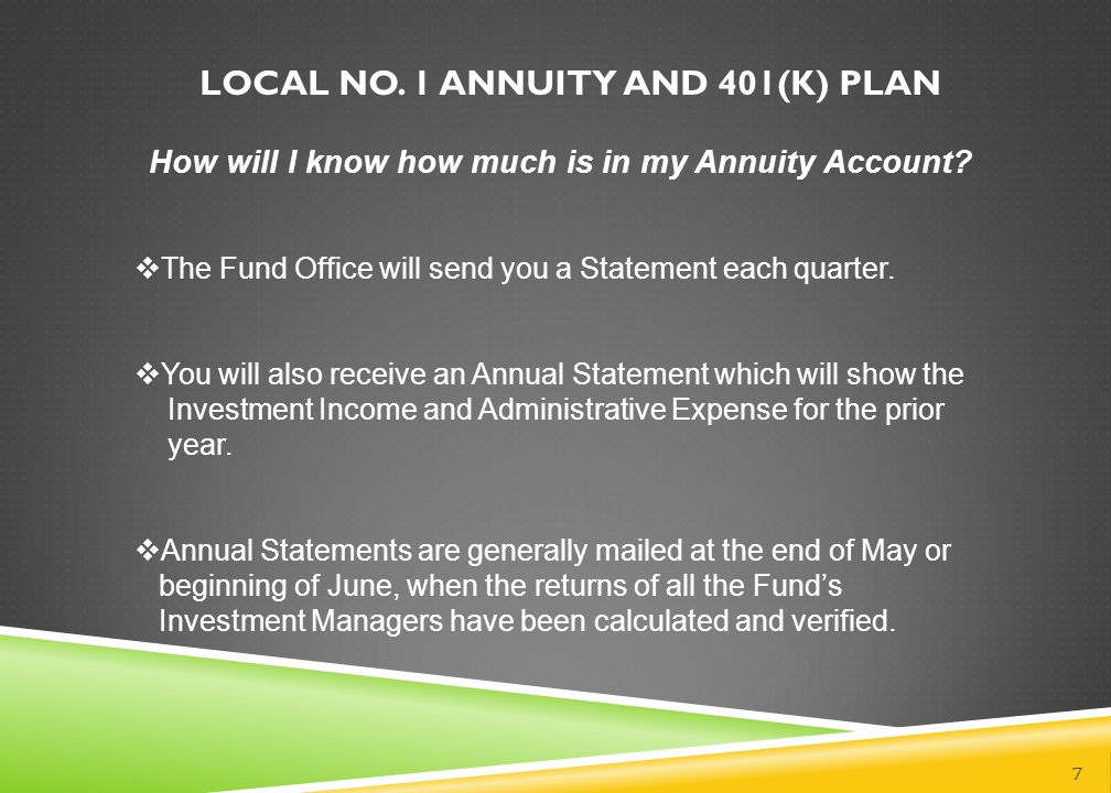 LOCAL NO. 1 ANNUITY AND 401(K) PLAN 7 How will I know how much is in my Annuity Account?  The Fund Office will send you a Statement each quarter.  Y