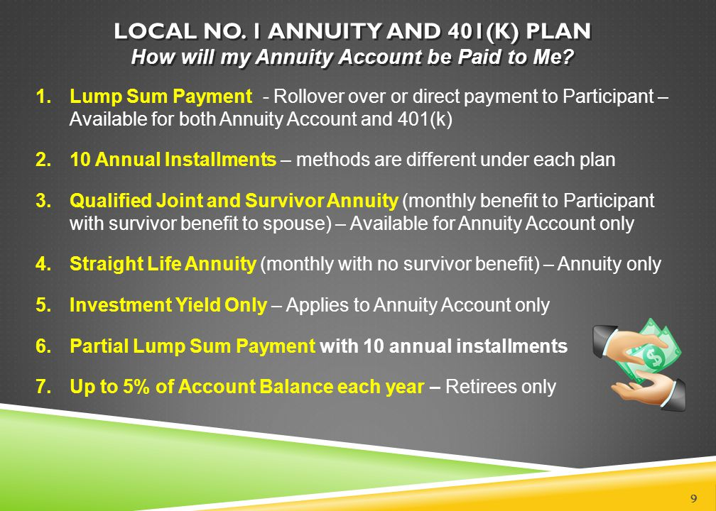 LOCAL NO. 1 ANNUITY AND 401(K) PLAN How will my Annuity Account be Paid to Me? 9 1.Lump Sum Payment - Rollover over or direct payment to Participant –