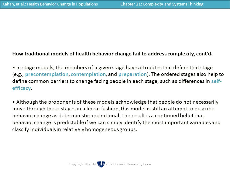 Kahan, et al.: Health Behavior Change in Populations Chapter 21: Complexity and Systems Thinking Copyright © 2014 | Johns Hopkins University Press How
