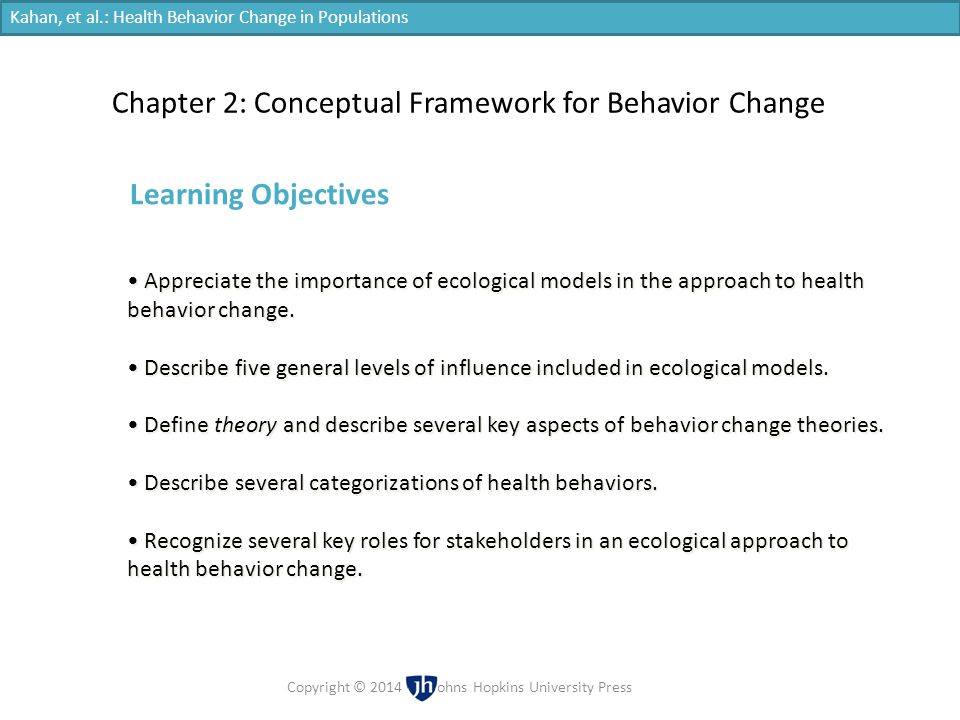 Appreciate the importance of ecological models in the approach to health behavior change. Describe five general levels of influence included in ecolog