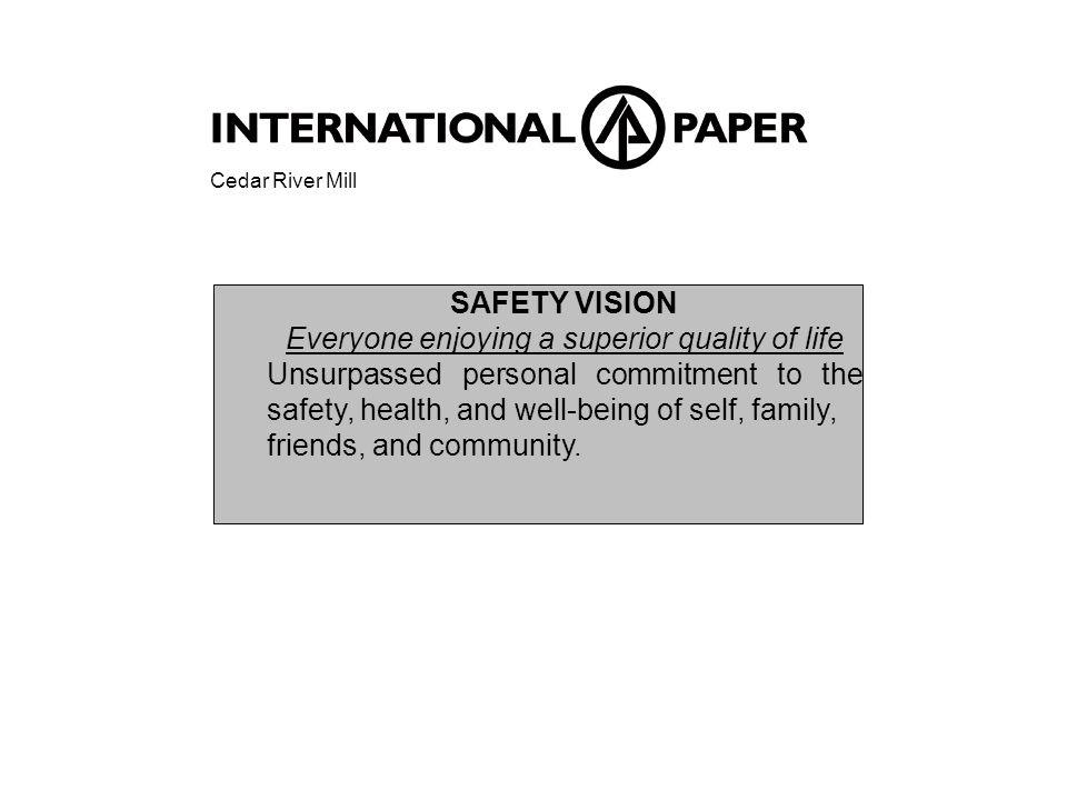 SAFETY VISION Everyone enjoying a superior quality of life Unsurpassed personal commitment to the safety, health, and well-being of self, family, friends, and community.