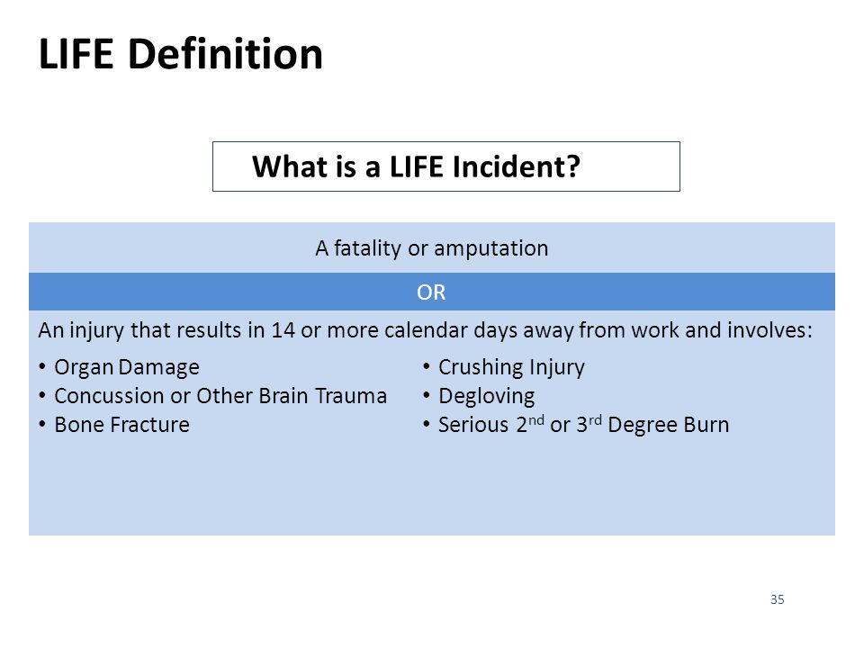 LIFE Definition 35 What is a LIFE Incident.
