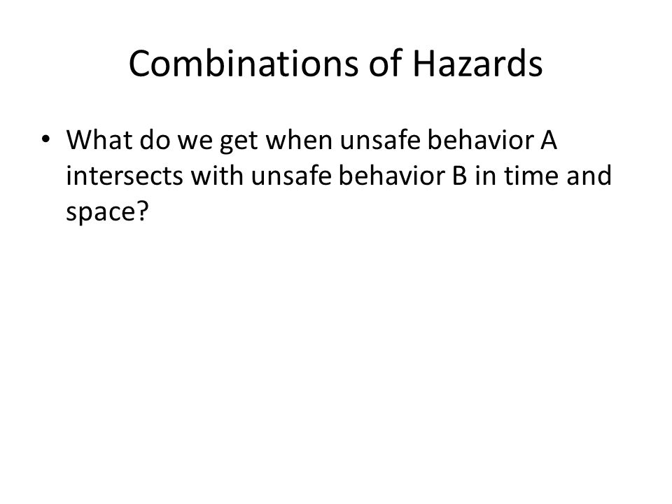 Combinations of Hazards What do we get when unsafe behavior A intersects with unsafe behavior B in time and space?
