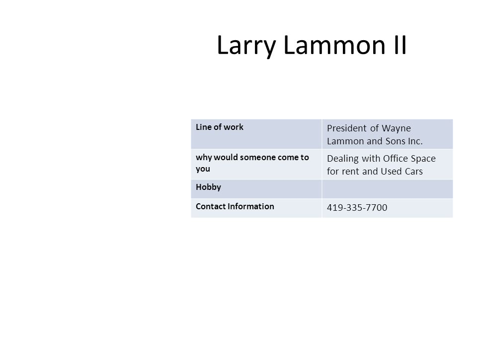Larry Lammon II Line of work President of Wayne Lammon and Sons Inc.