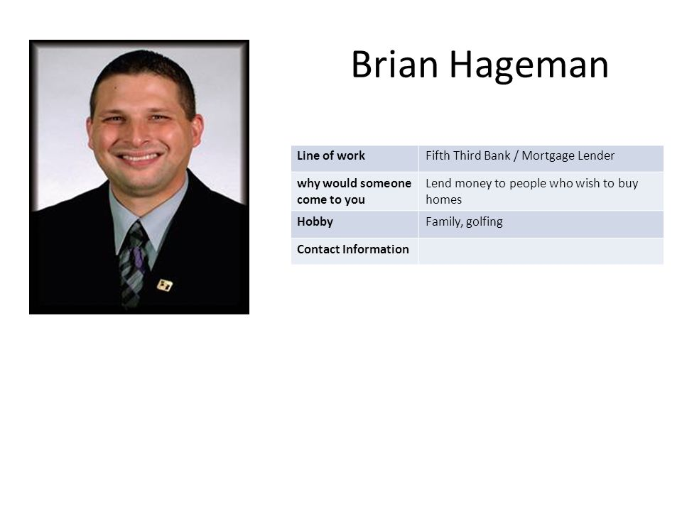 Brian Hageman Line of workFifth Third Bank / Mortgage Lender why would someone come to you Lend money to people who wish to buy homes HobbyFamily, golfing Contact Information