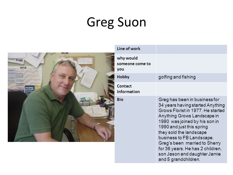 Greg Suon Line of work why would someone come to you Hobby golfing and fishing Contact Information Bio Greg has been in business for 34 years having started Anything Grows Florist in 1977.