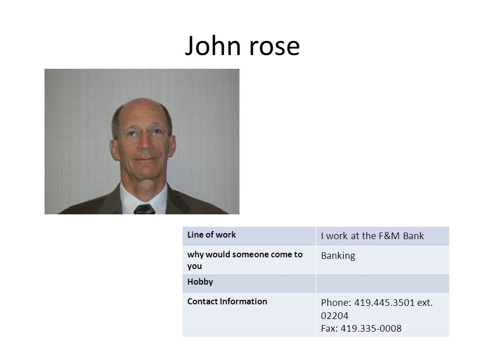 John rose Line of work I work at the F&M Bank why would someone come to you Banking Hobby Contact Information Phone: 419.445.3501 ext. 02204 Fax: 419.