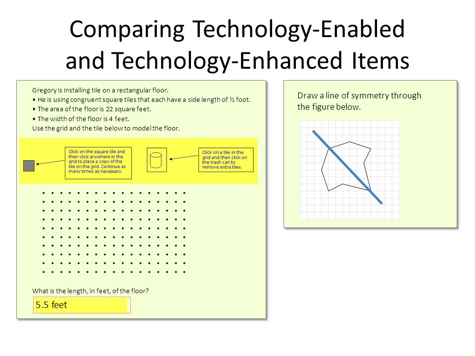 Comparing Technology-Enabled and Technology-Enhanced Items Draw a line of symmetry through the figure below.