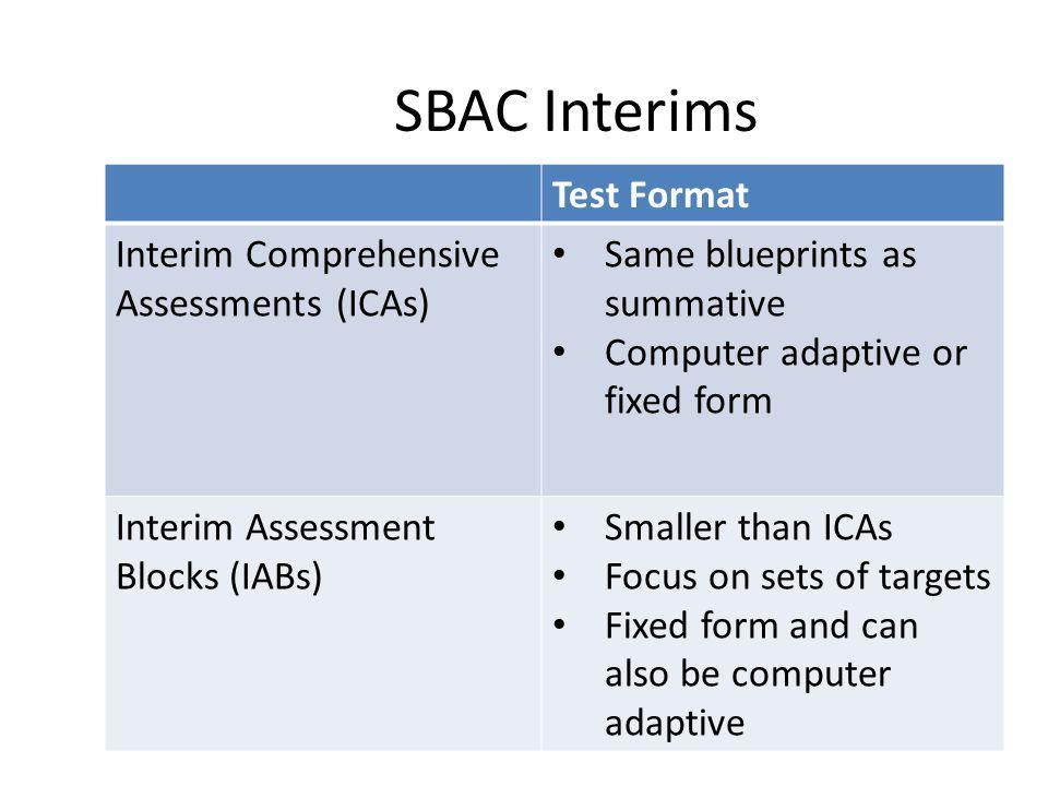 SBAC Interims Test Format Interim Comprehensive Assessments (ICAs) Same blueprints as summative Computer adaptive or fixed form Interim Assessment Blo