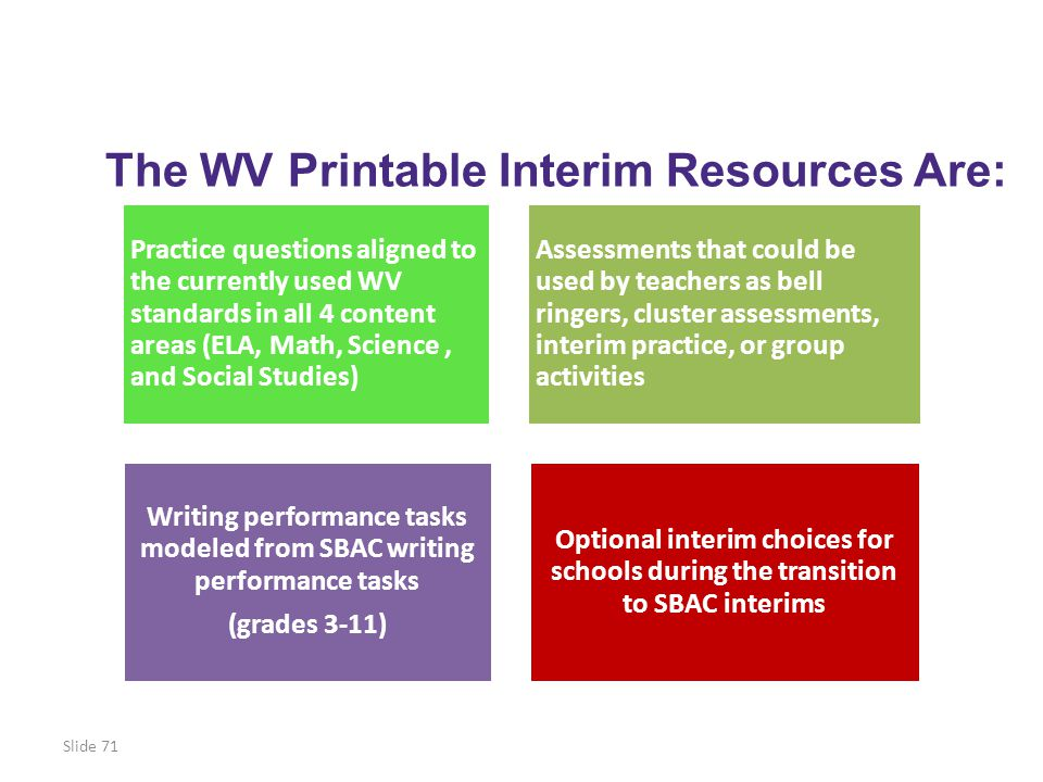 The WV Printable Interim Resources Are: Practice questions aligned to the currently used WV standards in all 4 content areas (ELA, Math, Science, and