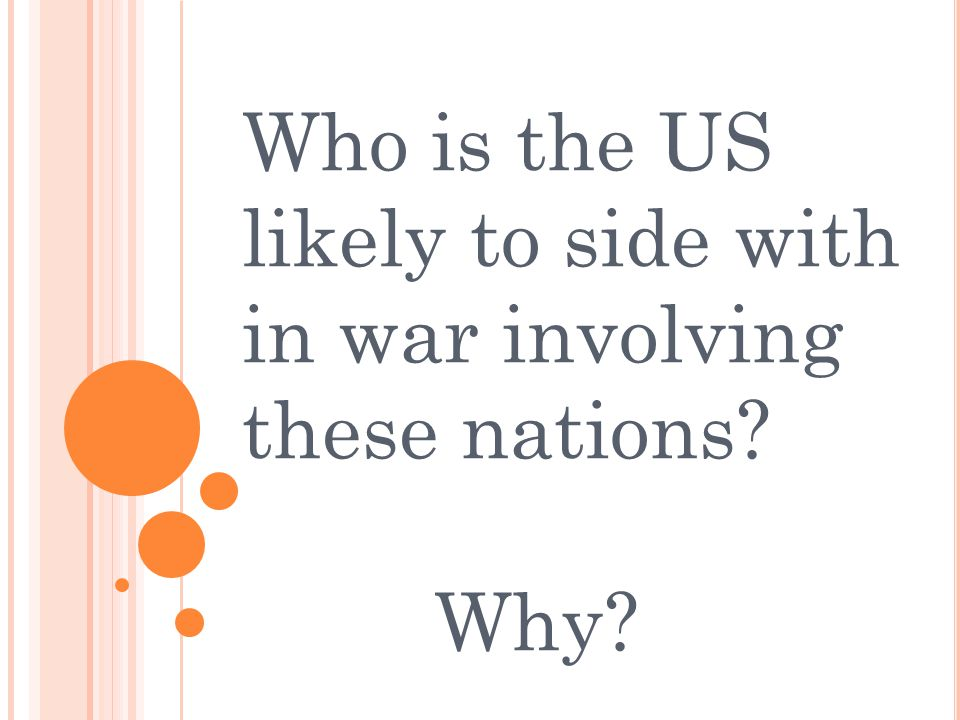 Who is the US likely to side with in war involving these nations Why
