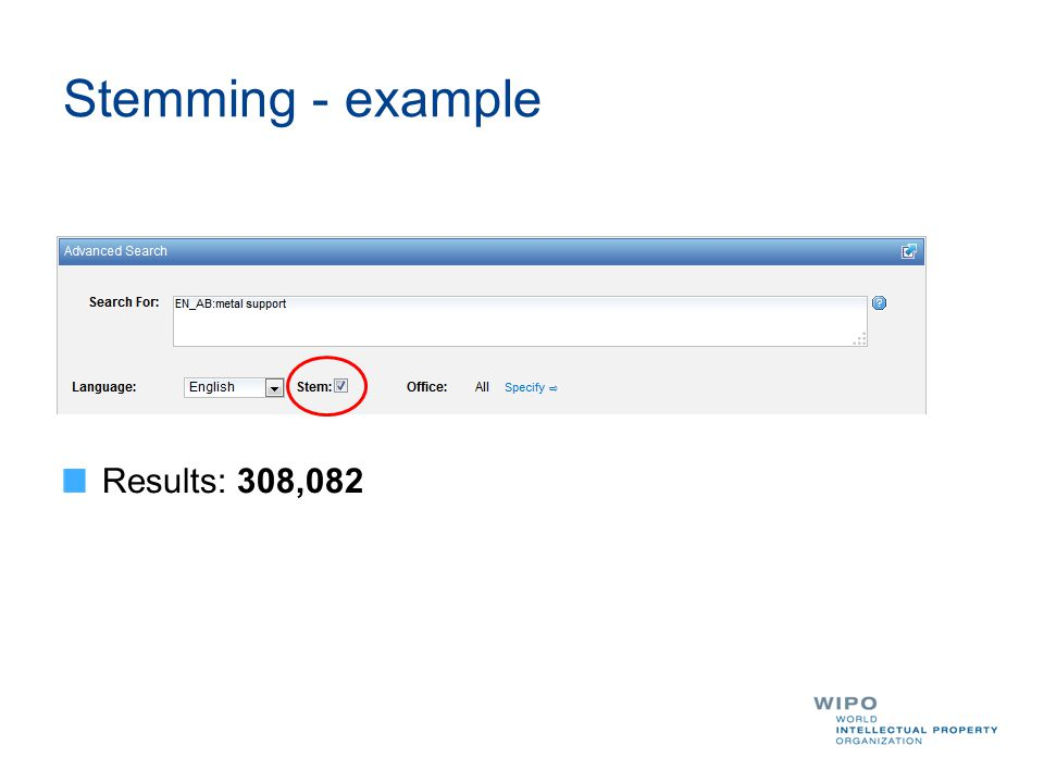 Stemming - example Results: 308,082