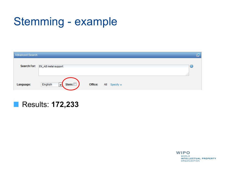 Stemming - example Results: 172,233