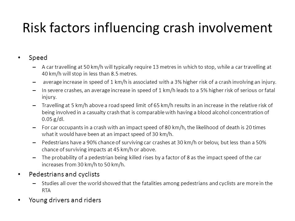 Risk factors influencing crash involvement Alcohol – For the general driving population, as the blood alcohol content increases from zero, the risk of being involved in a crash starts to rise significantly at a blood alcohol content of 0.04 g/dl.
