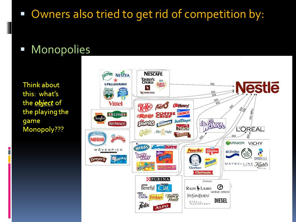  Owners also tried to get rid of competition by:  Monopolies Think about this: what's the object of the playing the game Monopoly