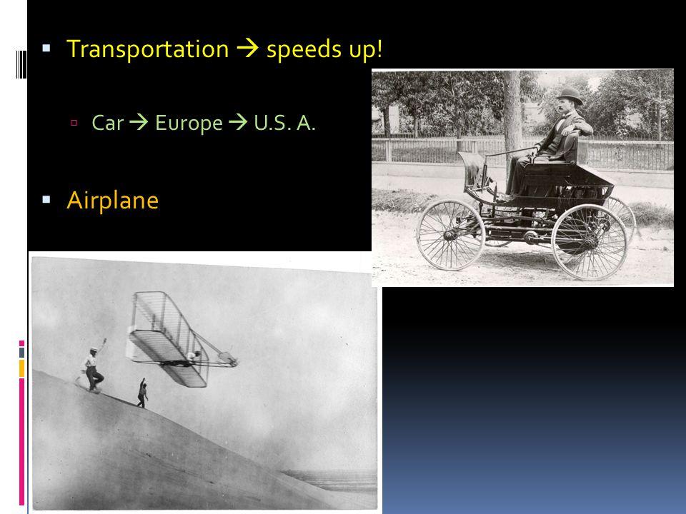  Transportation  speeds up!  Car  Europe  U.S. A.  Airplane