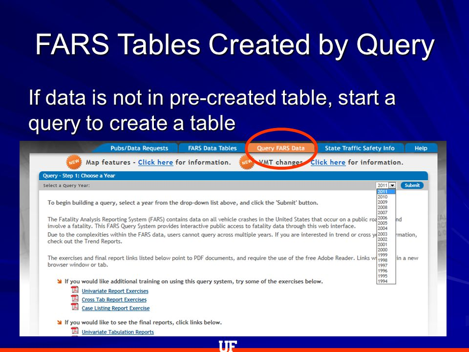 FARS Tables Created by Query If data is not in pre-created table, start a query to create a table