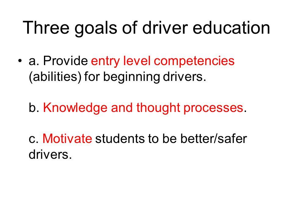 Three goals of driver education a.