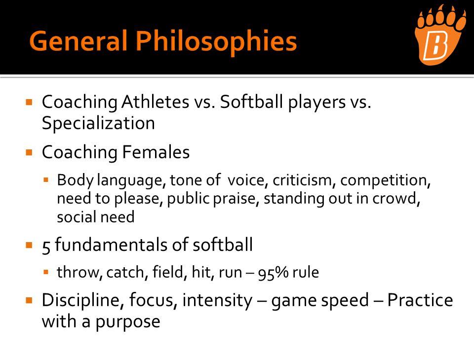  Coaching Athletes vs. Softball players vs.