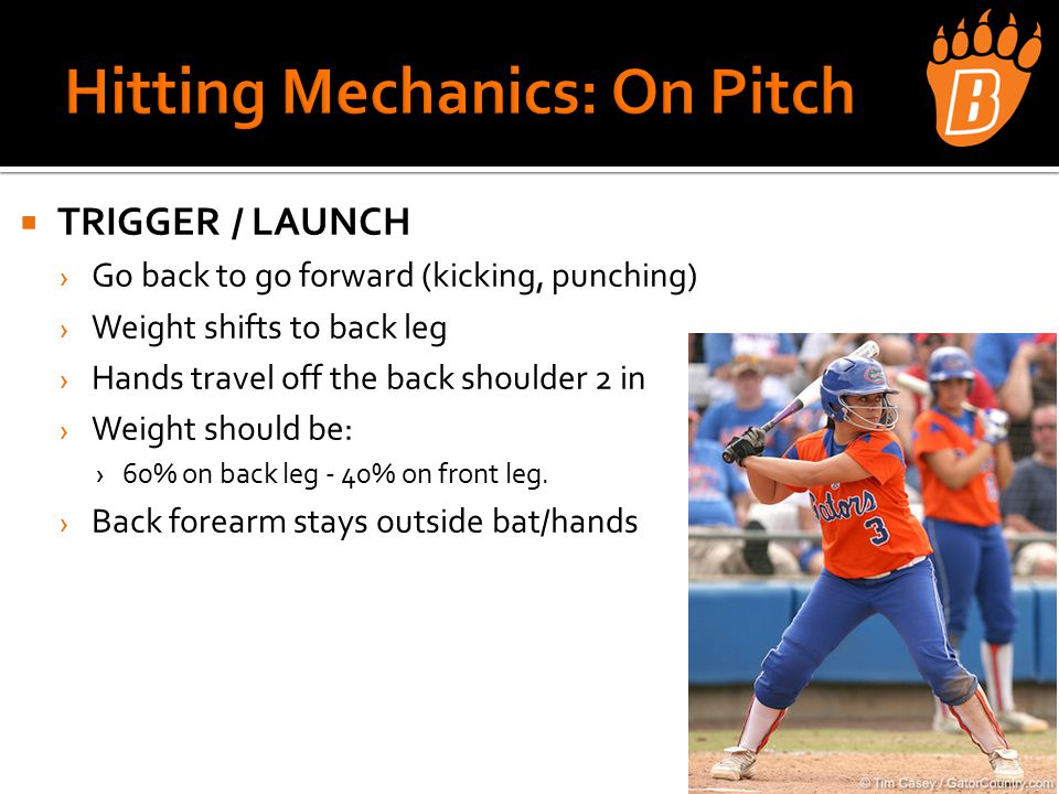  TRIGGER / LAUNCH › Go back to go forward (kicking, punching) › Weight shifts to back leg › Hands travel off the back shoulder 2 in › Weight should be: ›60% on back leg - 40% on front leg.