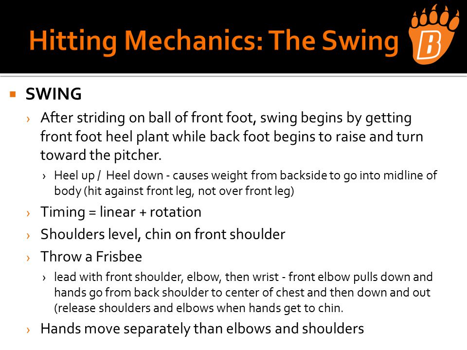  SWING › After striding on ball of front foot, swing begins by getting front foot heel plant while back foot begins to raise and turn toward the pitcher.