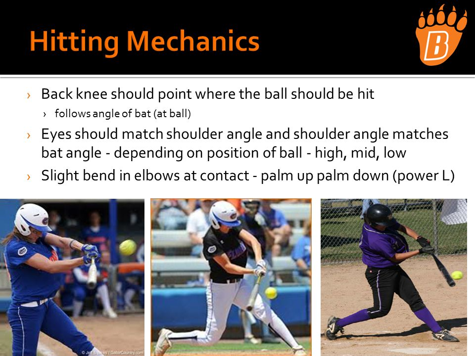 › Back knee should point where the ball should be hit ›follows angle of bat (at ball) › Eyes should match shoulder angle and shoulder angle matches bat angle - depending on position of ball - high, mid, low › Slight bend in elbows at contact - palm up palm down (power L)