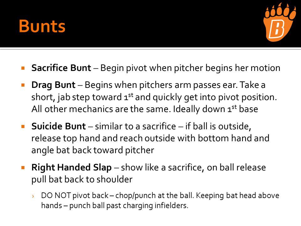  Sacrifice Bunt – Begin pivot when pitcher begins her motion  Drag Bunt – Begins when pitchers arm passes ear.