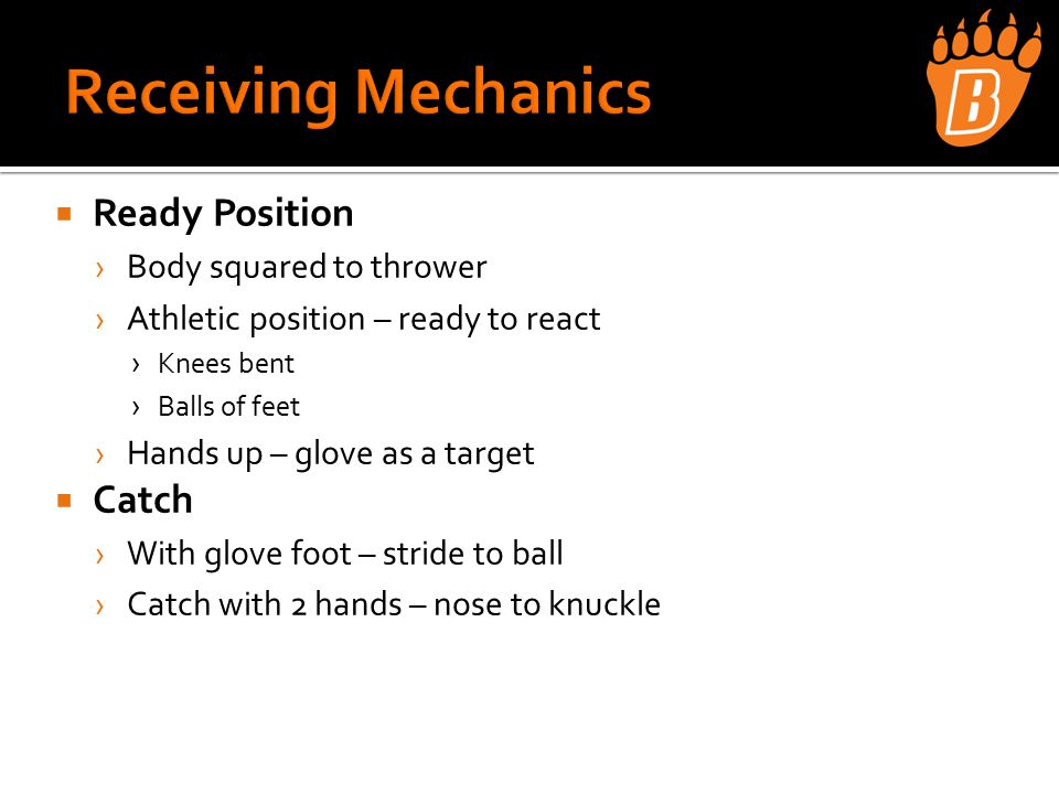 Throwing › Wrist Flips › One Knee Throwing › Sideways Catch › Quick Feet/Quick Hands › Long Toss › Position Player Catch  Outfield › Drop Knee Grounders › Do or Dies › Pop fly Footwork w/Partner › Drop Steps › Quarterback  Fielding › Short Hops – Off Knees › Forehands › Backhands › PFP Short Hops › Forehands/Backhands › Roll with Approach › 4 Corners Flips/Tags › Forehands/Backhands › 4 Corner Roll with Approach