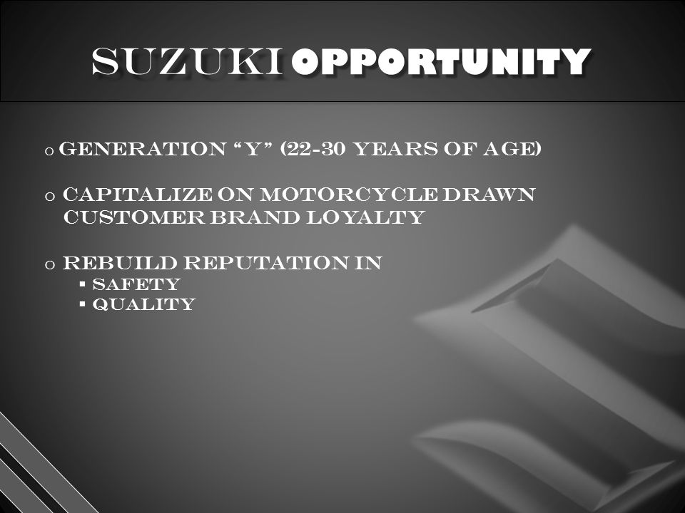 OPPORTUNITY o generation y (22-30 years of age) o capitalize on motorcycle drawn customer brand loyalty o rebuild reputation in  Safety  quality