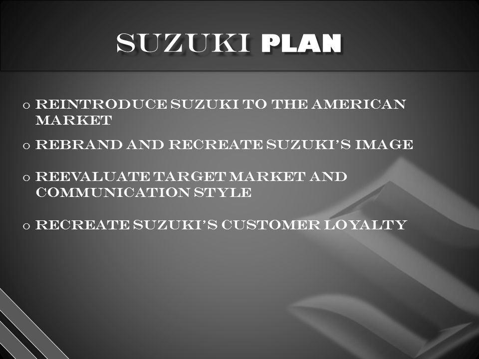 PLAN o reintroduce Suzuki to the American market o rebrand and recreate Suzuki's image o reevaluate target market and communication style o recreate Suzuki's customer loyalty
