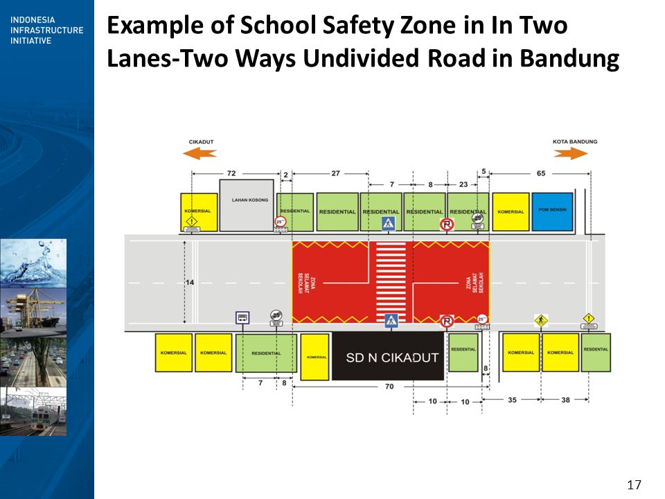 17 Example of School Safety Zone in In Two Lanes-Two Ways Undivided Road in Bandung