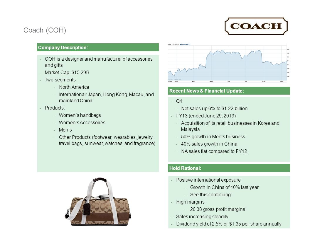 [ C L I E N T N A M E ][ C L I E N T N A M E ] Presentation2 Coach (COH) Company Description: - COH is a designer and manufacturer of accessories and gifts - Market Cap: $15.29B - Two segments - North America - International: Japan, Hong Kong, Macau, and mainland China - Products: - Women's handbags - Women's Accessories - Men's - Other Products (footwear, wearables, jewelry, travel bags, sunwear, watches, and fragrance) Recent News & Financial Update: - Q4: - Net sales up 6% to $1.22 billion - FY13 (ended June 29, 2013) - Acquisition of its retail businesses in Korea and Malaysia - 50% growth in Men's business - 40% sales growth in China - NA sales flat compared to FY12 - Positive international exposure - Growth in China of 40% last year - See this continuing - High margins - 20.38 gross profit margins - Sales increasing steadily - Dividend yield of 2.5% or $1.35 per share annually Hold Rational: