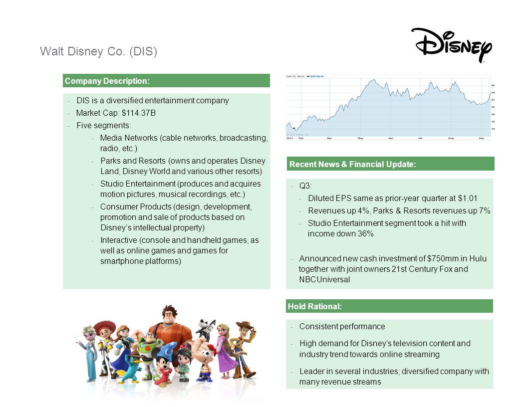 [ C L I E N T N A M E ][ C L I E N T N A M E ] Presentation2 Walt Disney Co. (DIS) Company Description: - DIS is a diversified entertainment company -