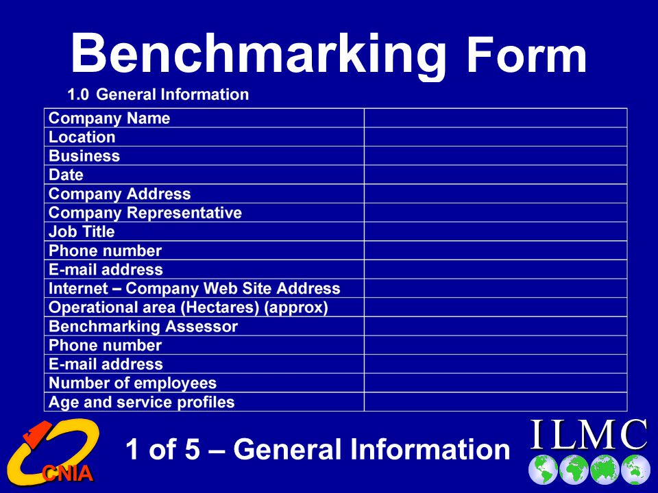 CILM CNIA CNIA Completing the Benchmarking Form Complete the first section of the Form: Provides information about the: Provides information about the: LocationLocation Business Contact details Benchmarking Form