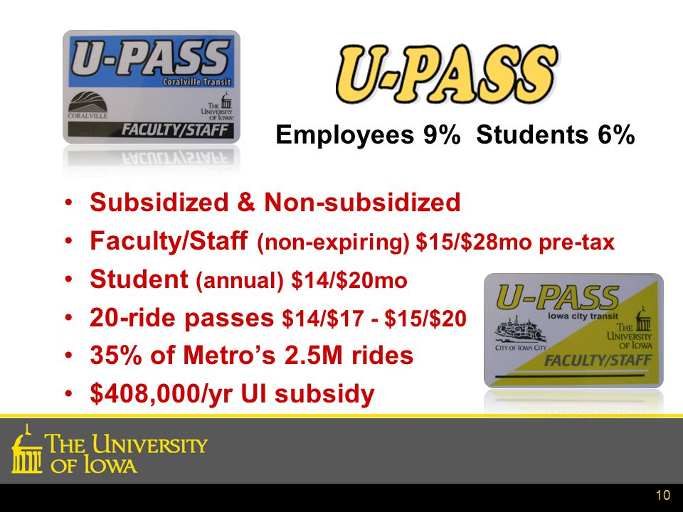 10 Employees 9% Students 6% Subsidized & Non-subsidized Faculty/Staff (non-expiring) $15/$28mo pre-tax Student (annual) $14/$20mo 20-ride passes $14/$17 - $15/$20 35% of Metro's 2.5M rides $408,000/yr UI subsidy
