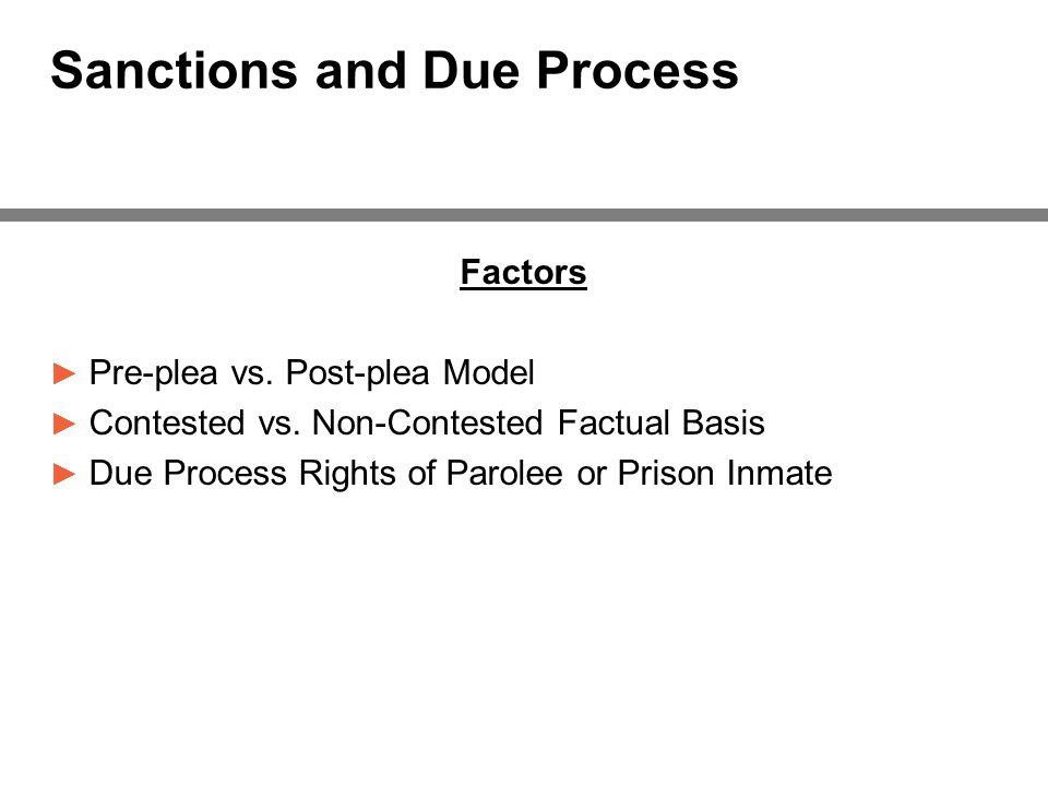 Sanctions and Due Process Factors ► Pre-plea vs. Post-plea Model ► Contested vs.