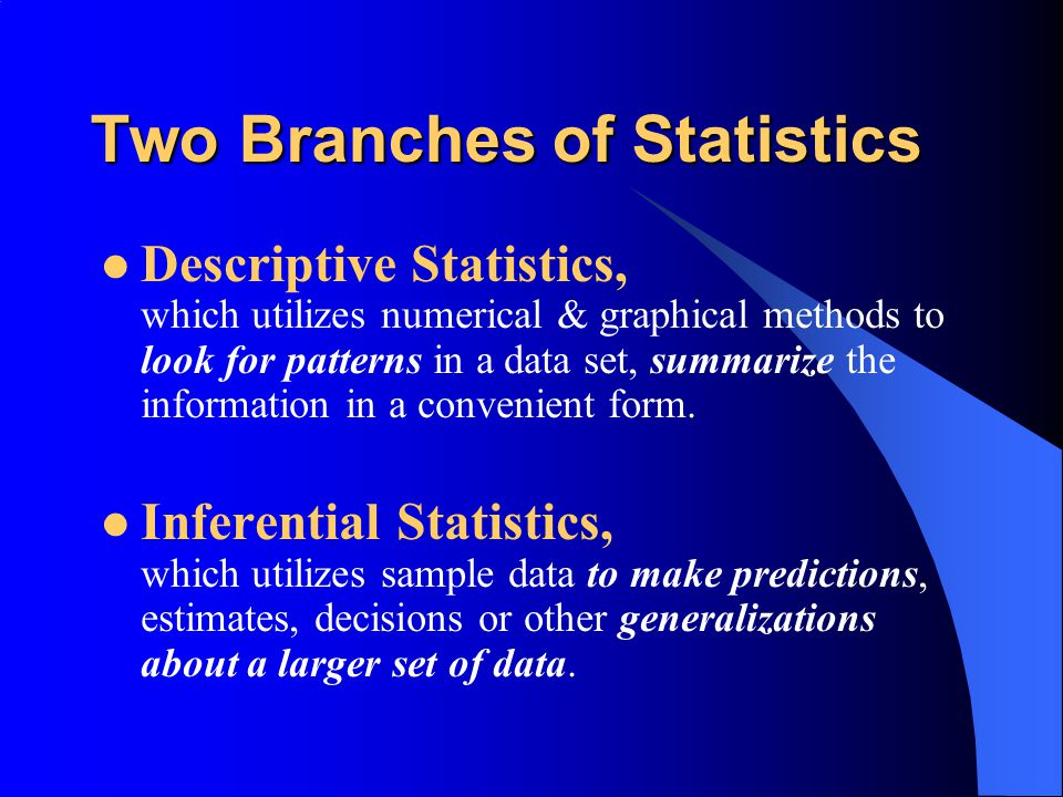 Goals for our study… We will answer these questions: What are the branches of Statistics.