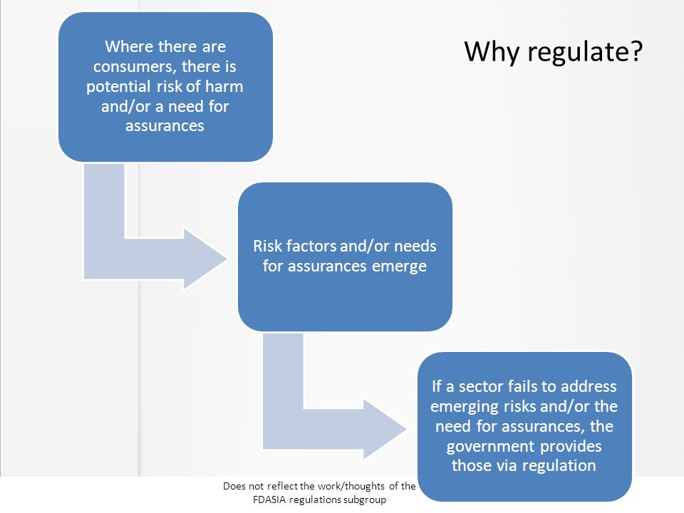 Why regulate? Where there are consumers, there is potential risk of harm and/or a need for assurances Risk factors and/or needs for assurances emerge