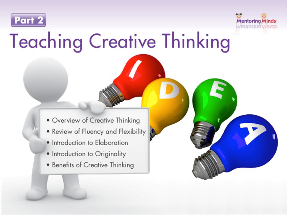Teaching Creative Thinking Introduction Creative Thinking Is essential for success in learning and success in life Involves a range of skills that can be promoted across the curriculum Can be integrated in all areas of life