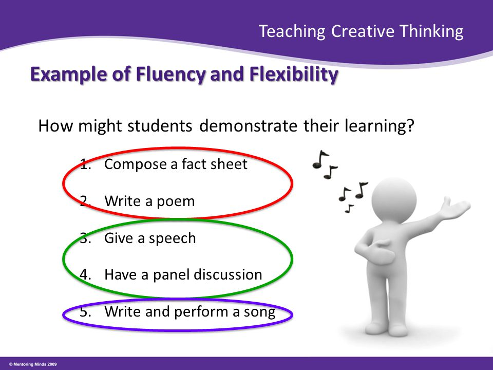 Teaching Creative Thinking Example of Fluency and Flexibility How might students demonstrate their learning.