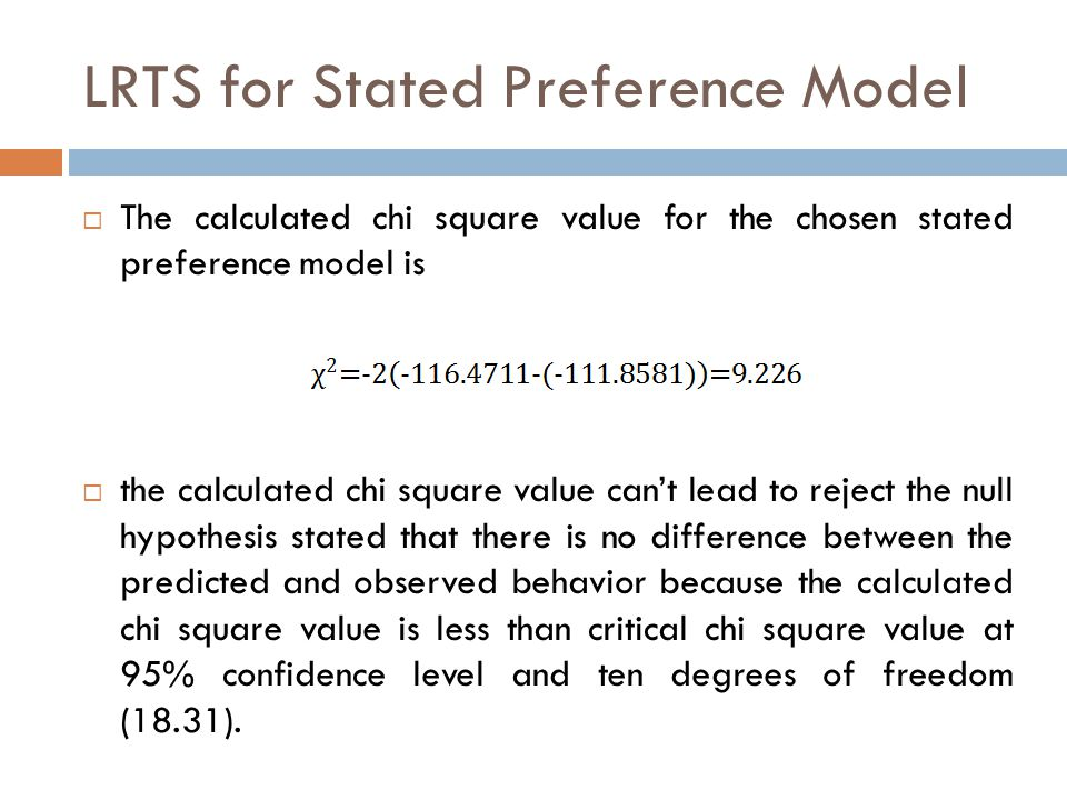 LRTS for Stated Preference Model  The calculated chi square value for the chosen stated preference model is  the calculated chi square value can't lead to reject the null hypothesis stated that there is no difference between the predicted and observed behavior because the calculated chi square value is less than critical chi square value at 95% confidence level and ten degrees of freedom (18.31).