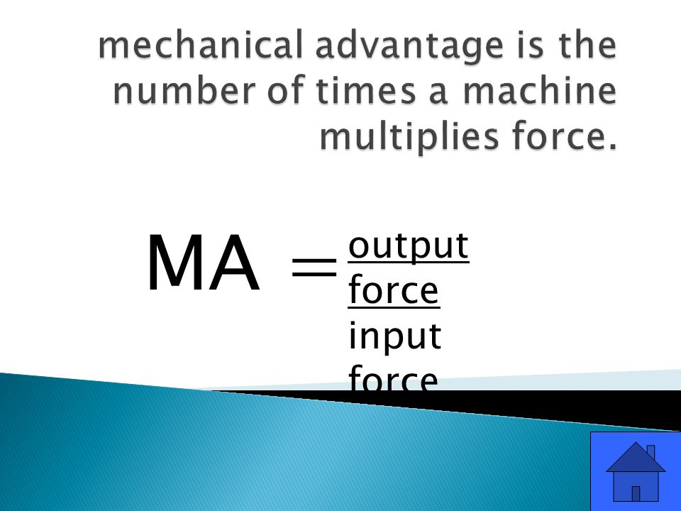 output force input force MA =