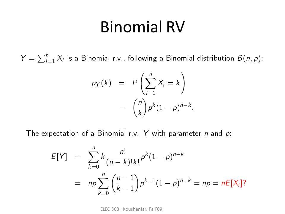 ELEC 303, Koushanfar, Fall'09 Binomial RV