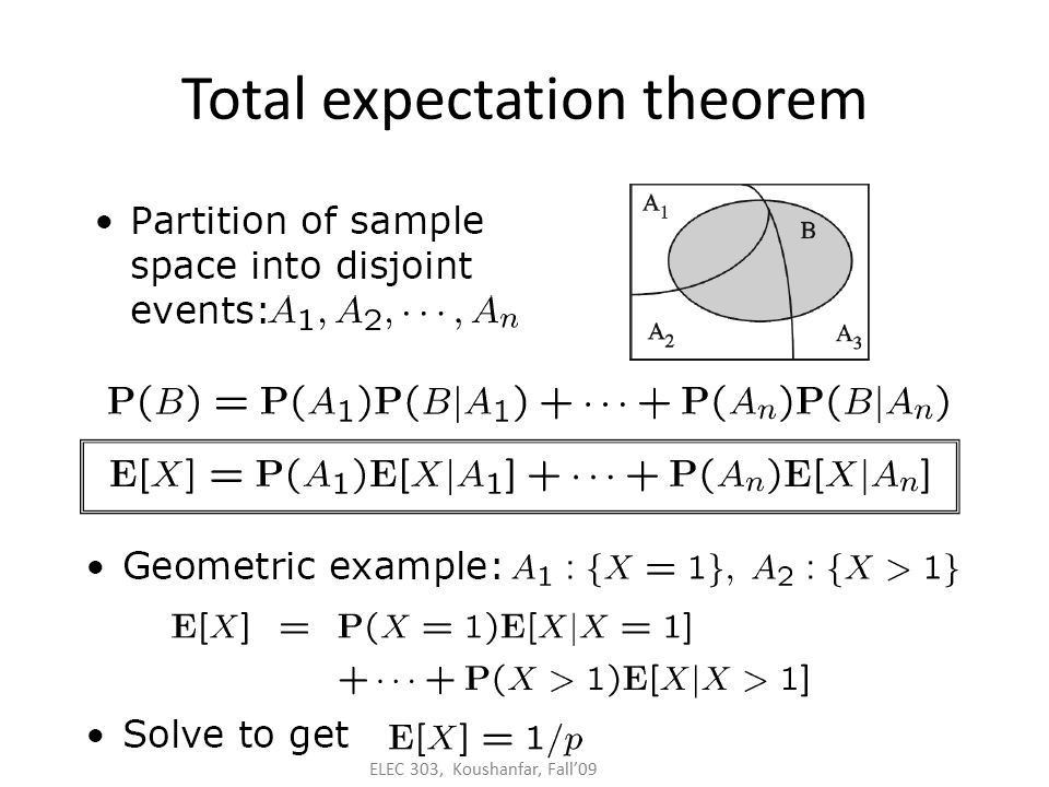 ELEC 303, Koushanfar, Fall'09 Total expectation theorem